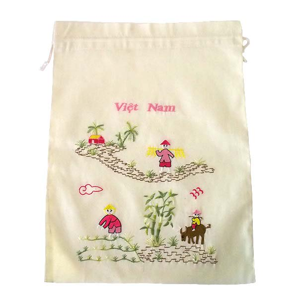 ベトナム 刺繍 巾着(水牛と子供 大サイズ 37×28)【画像4】