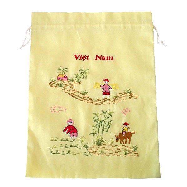 ベトナム 刺繍 巾着(水牛と子供 大サイズ 37×28)【画像5】