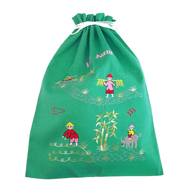 ベトナム 刺繍 巾着(水牛と子供 大サイズ 37×28)【画像6】