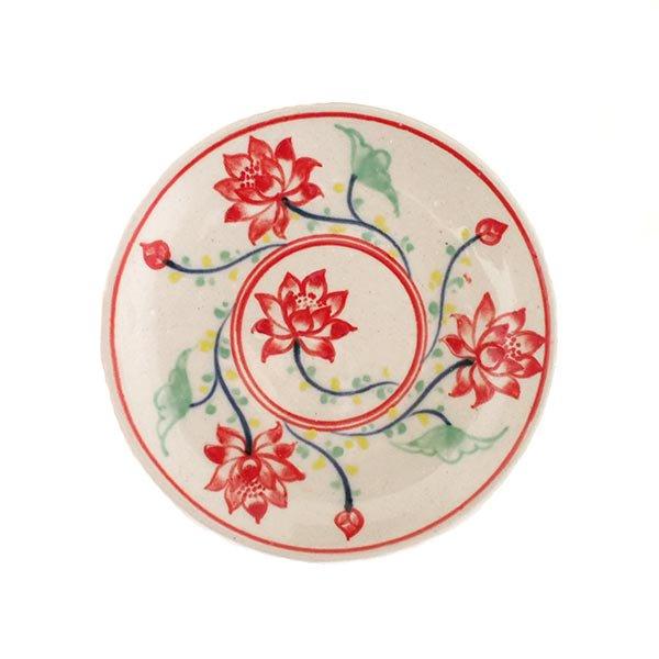 ベトナム バッチャン焼き 手描き  蓮  小皿(直径約12cm)