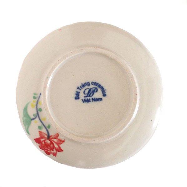 ベトナム バッチャン焼き 手描き  蓮  小皿(直径約12cm)【画像2】