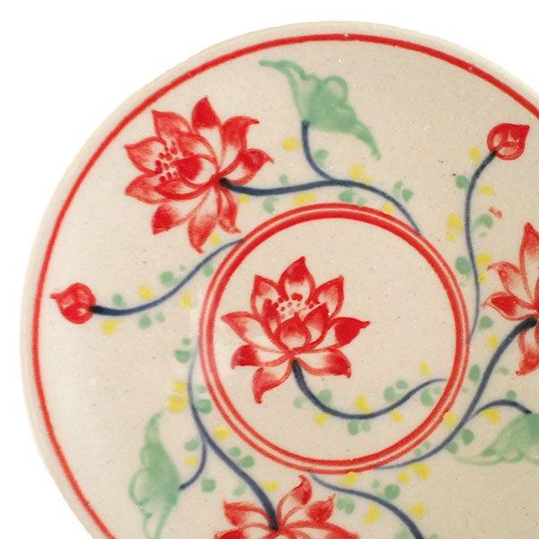 ベトナム バッチャン焼き 手描き  蓮  小皿(直径約12cm)【画像3】