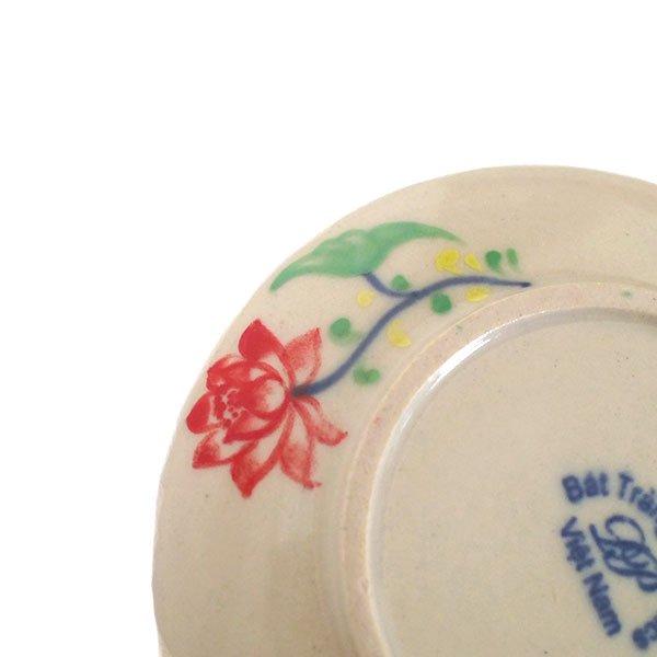 ベトナム バッチャン焼き 手描き  蓮  小皿(直径約12cm)【画像4】