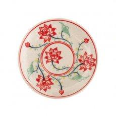 ベトナム バッチャン焼き 手描き 小皿 蓮(直径約12cm)
