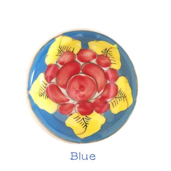 ベトナム バッチャン焼き 手描き  花 カラフル 豆皿 3色 (直径 約8.5cm)【画像3】