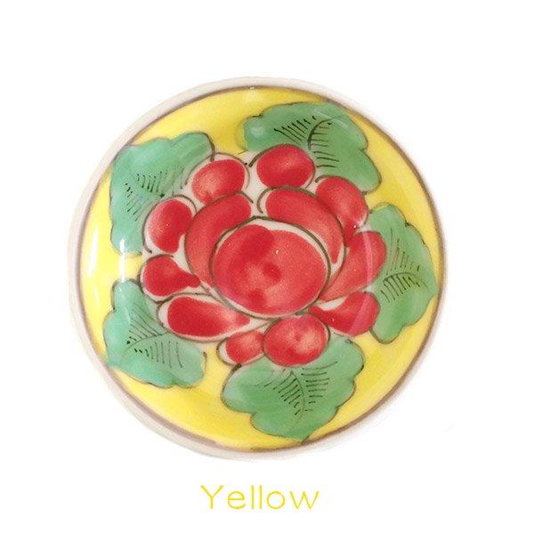 ベトナム バッチャン焼き 手描き  花 カラフル 豆皿 3色 (直径 約8.5cm)【画像4】