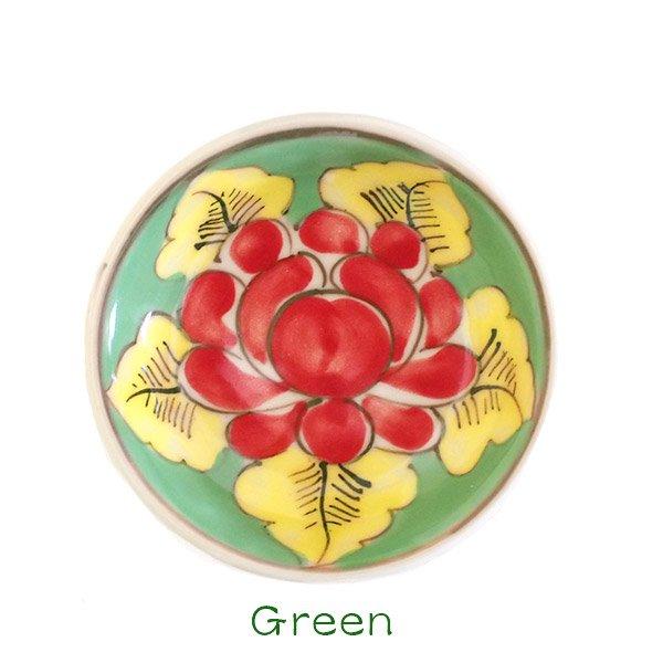 ベトナム バッチャン焼き 手描き  花 カラフル 豆皿 3色 (直径 約8.5cm)【画像5】