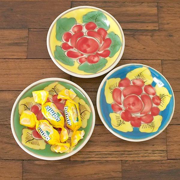 ベトナム バッチャン焼き 手描き  花 カラフル 豆皿 3色 (直径 約8.5cm)【画像7】