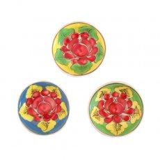 ベトナム バッチャン焼き 手描き  花 カラフル 豆皿 3色 (直径 約8.5cm)