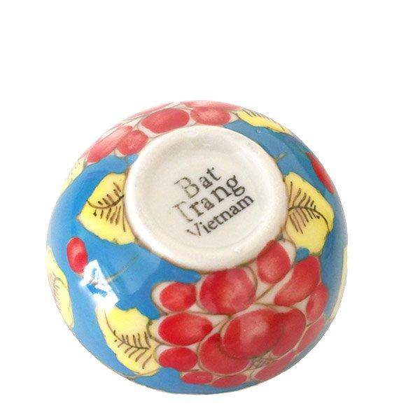 ベトナム バッチャン焼き 手描き  花 カラフル 小鉢 3色 (直径 約8.5cm)【画像2】