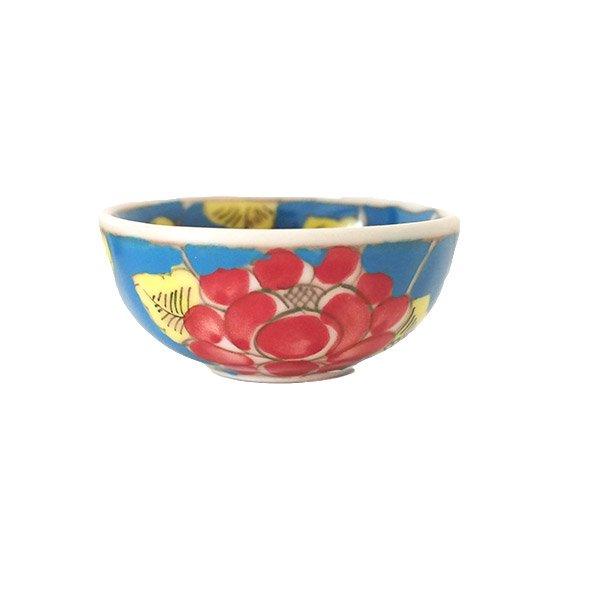 ベトナム バッチャン焼き 手描き  花 カラフル 小鉢 3色 (直径 約8.5cm)【画像3】