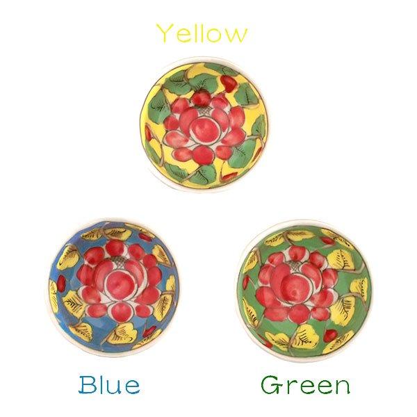 ベトナム バッチャン焼き 手描き  花 カラフル 小鉢 3色 (直径 約8.5cm)【画像4】