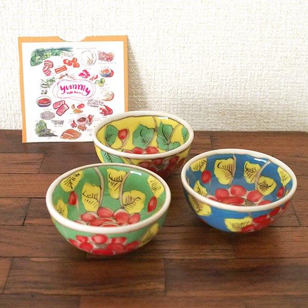 ベトナム バッチャン焼き 手描き  花 カラフル 小鉢 3色 (直径 約8.5cm)【画像5】
