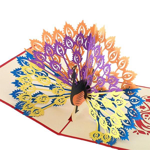 ベトナム 切り絵 ポップアップカード C(クジャク 17×15)