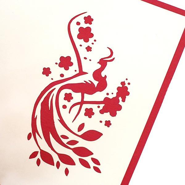 ベトナム 切り絵 ポップアップカード C(クジャク 17×15)【画像2】