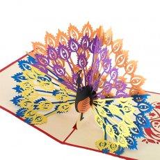 トリ (鳥) 雑貨  ベトナム 切り絵 ポップアップカード C(クジャク 17×15)