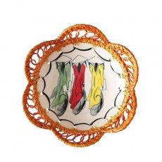 ベトナム バッチャン焼き ラタン編み 皿  アオザイ(直径約15cm)