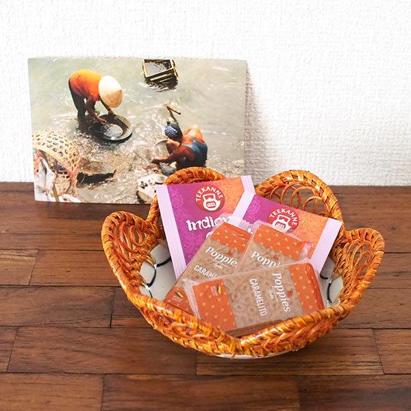 ベトナム バッチャン焼き ラタン編み 皿  ホアンキエム湖 亀の塔 (直径約15cm)【画像5】