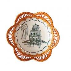 ベトナム バッチャン焼き ラタン編み 皿  ホアンキエム湖 亀の塔 (直径約15cm)