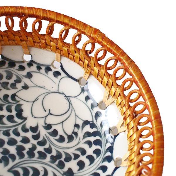 ベトナム バッチャン焼き ラタン編み 丸皿 蓮 ハス (直径約14cm)【画像4】