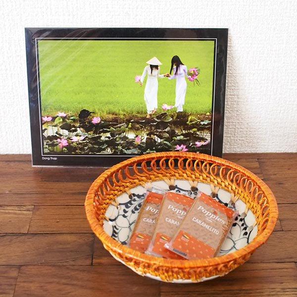 ベトナム バッチャン焼き ラタン編み 丸皿 蓮 ハス (直径約14cm)【画像5】