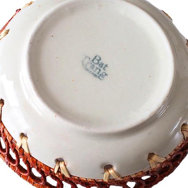 ベトナム バッチャン焼き ラタン編み 丸皿 トンボ (直径約14cm)【画像2】
