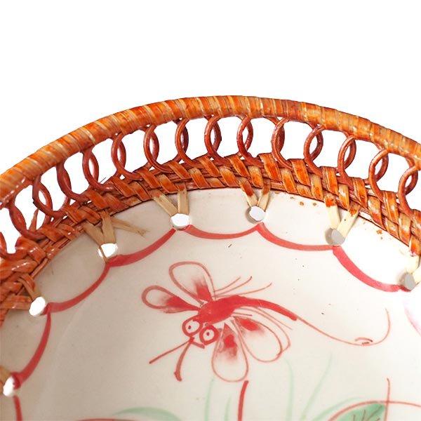 ベトナム バッチャン焼き ラタン編み 丸皿 トンボ (直径約14cm)【画像4】