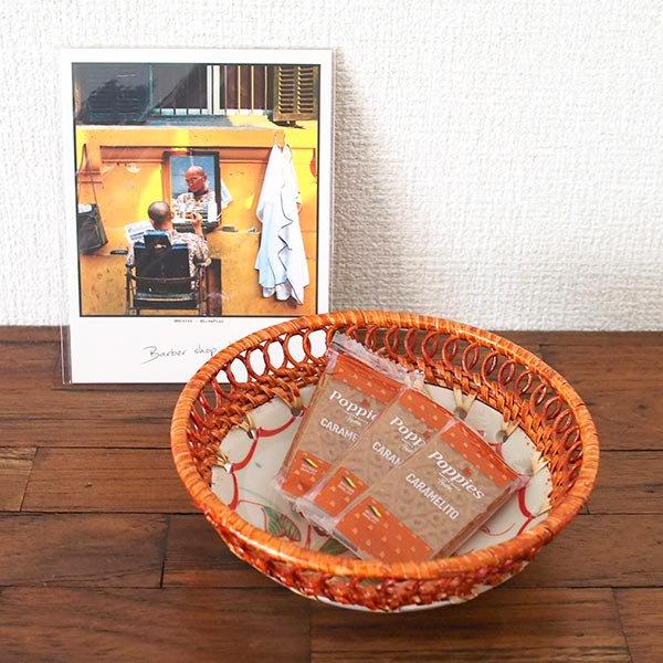 ベトナム バッチャン焼き ラタン編み 丸皿 トンボ (直径約14cm)【画像5】