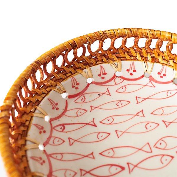 ベトナム バッチャン焼き ラタン 小物入れ 魚(丸形)【画像4】