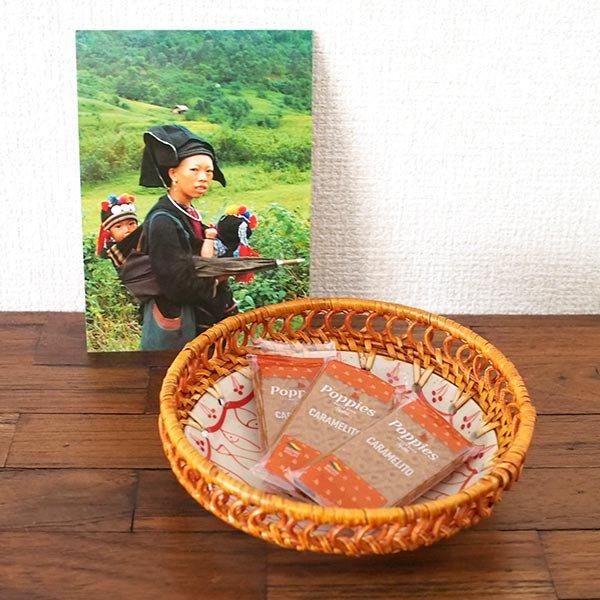 ベトナム バッチャン焼き ラタン 小物入れ 魚(丸形)【画像5】