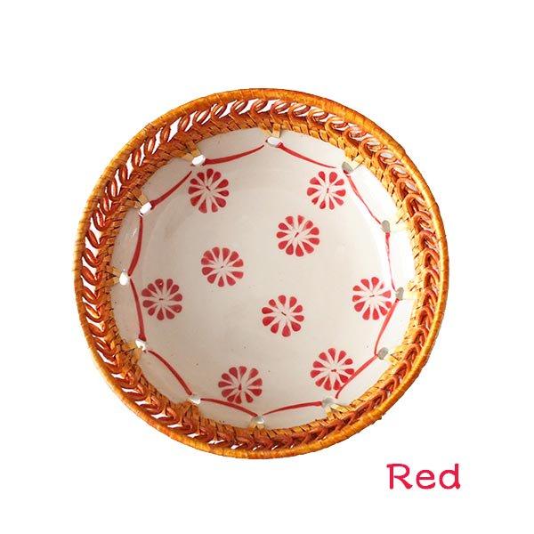 ベトナム バッチャン焼き ラタン編み 丸皿 菊の花 2色(直径約14cm)【画像3】
