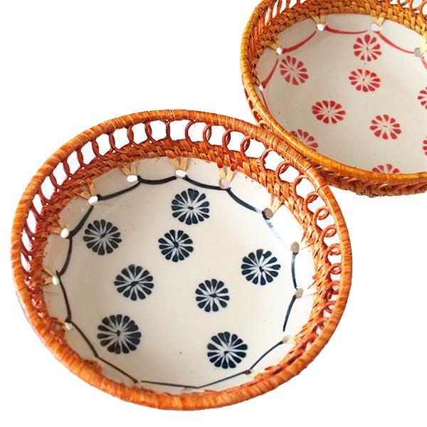 ベトナム バッチャン焼き ラタン編み 丸皿 菊の花 2色(直径約14cm)【画像5】