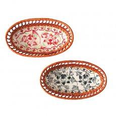 ベトナム バッチャン焼き ベトナム バッチャン焼き ラタン 小物入れ 蓮 ロータス 2色(楕円形)