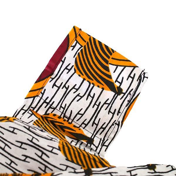 【HARMONY FOR PEACE プロジェクト】マリ 足踏みミシンで仕立てた パーニュ 巾着 エコバッグ(シマウマ オレンジ)【画像5】