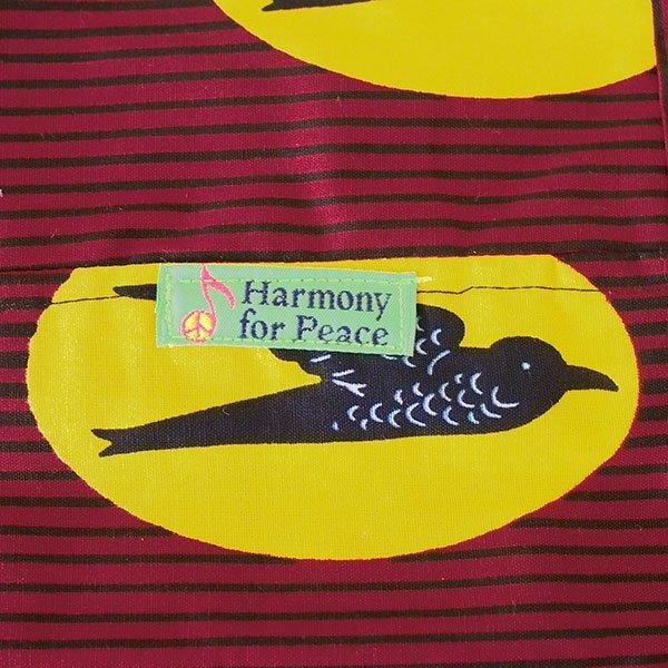 【HARMONY FOR PEACE プロジェクト】マリ 足踏みミシンで仕立てた パーニュ 巾着 エコバッグ(ツバメ レッド)【画像2】