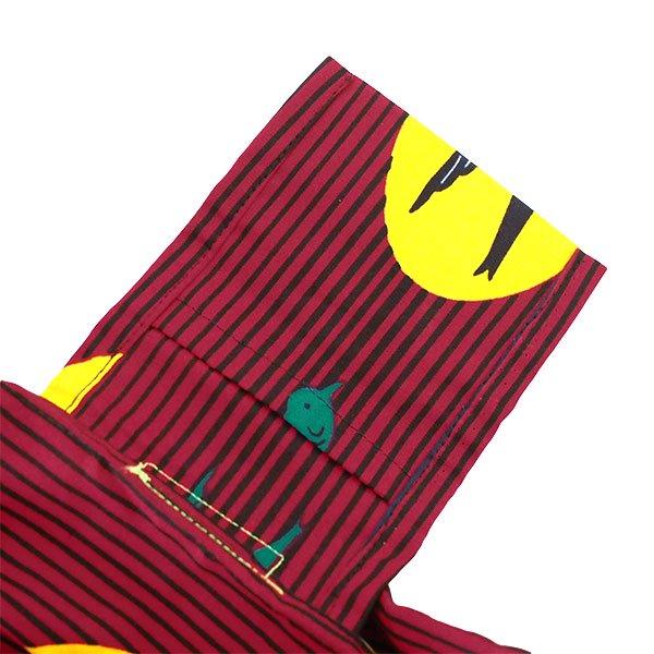 【HARMONY FOR PEACE プロジェクト】マリ 足踏みミシンで仕立てた パーニュ 巾着 エコバッグ(ツバメ レッド)【画像5】