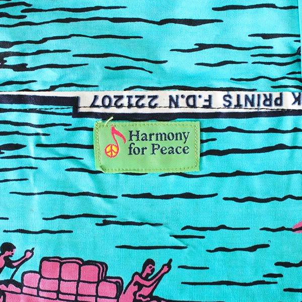 【HARMONY FOR PEACE プロジェクト】マリ 足踏みミシンで仕立てた パーニュ 巾着 エコバッグ(ボート ブルー)【画像2】