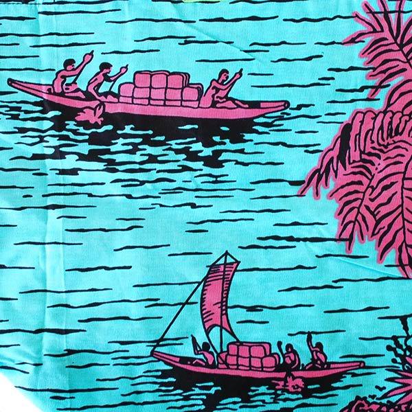 【HARMONY FOR PEACE プロジェクト】マリ 足踏みミシンで仕立てた パーニュ 巾着 エコバッグ(ボート ブルー)【画像3】