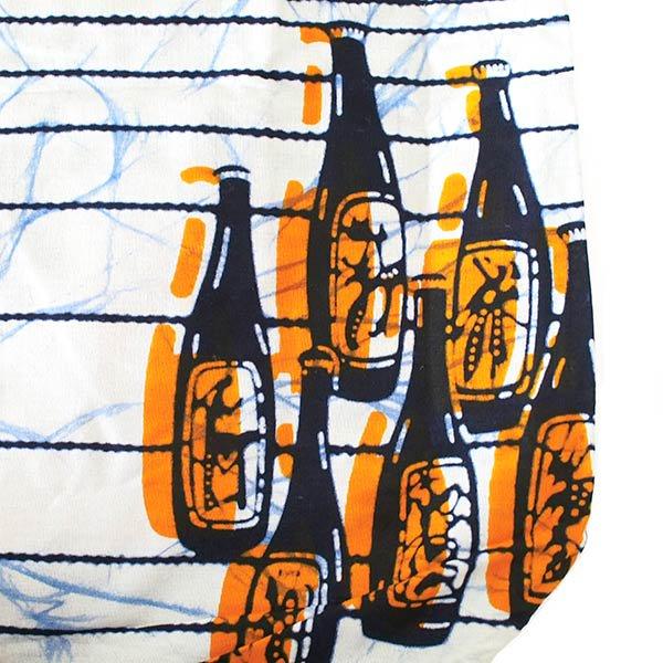 【HARMONY FOR PEACE プロジェクト】マリ 足踏みミシンで仕立てた パーニュ 巾着 エコバッグ(6ボトル オレンジ)【画像3】
