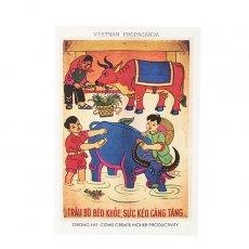 ベトナム プロパガンダ アート ポストカード(STRONG FAT COWS CREATE HIGHER PRODUCTIVITY)