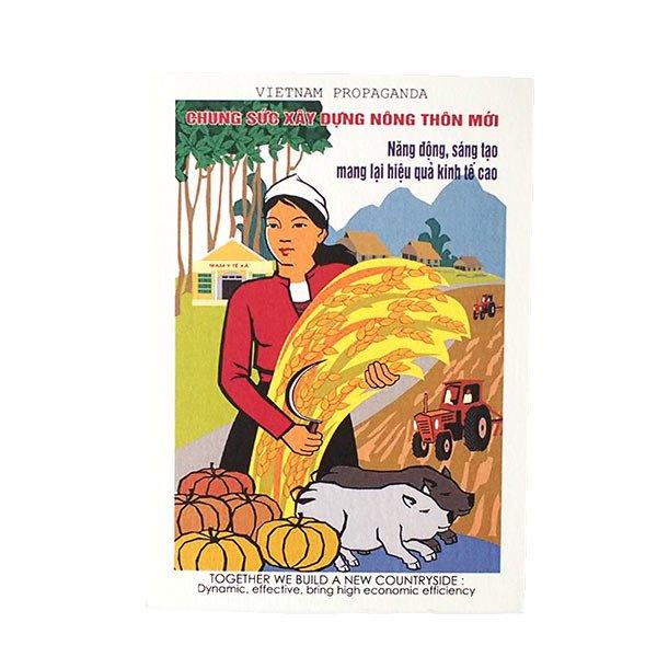 ベトナム ポストカード プロパガンダ アート(TOGETER WE BUILD A NEW COUNTRYSIDE...)