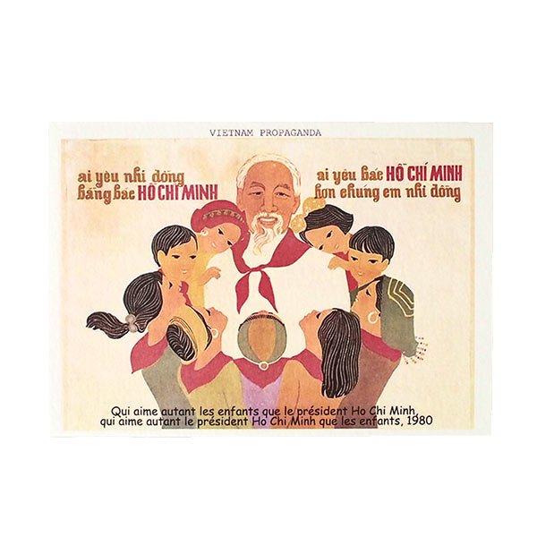 ベトナム プロパガンダ アート ポストカード(Qui aime autant les enfants que le president Ho Chi  Minh...)