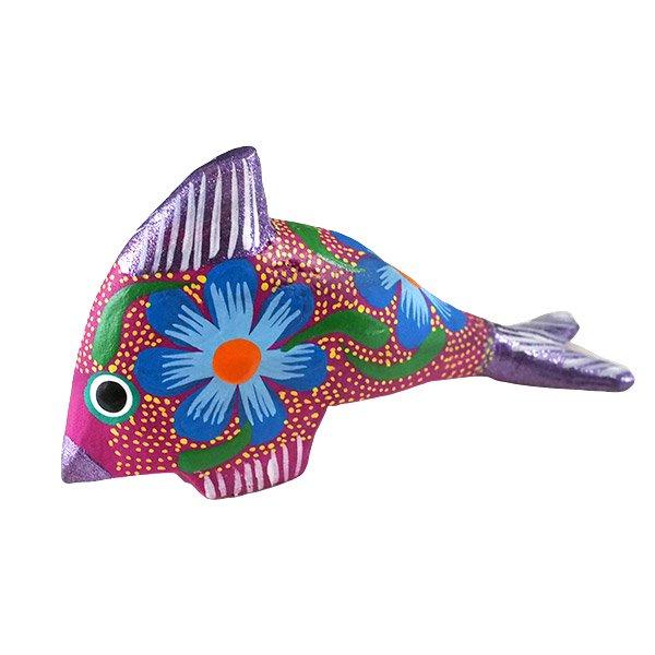 メキシコ ウッドカービング アレブリヘス (魚 パープル)