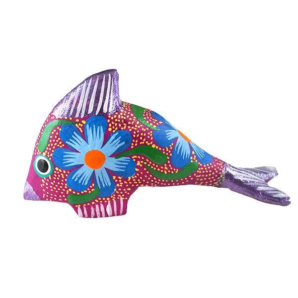 メキシコ ウッドカービング アレブリヘス (魚 パープル) 【画像2】