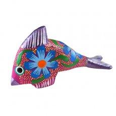 オブジェ   メキシコ ウッドカービング アレブリヘス (魚 パープル)