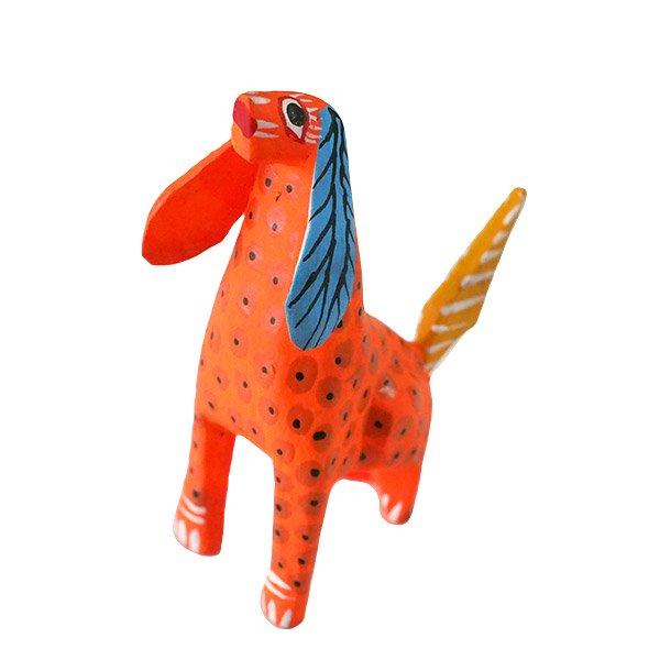 メキシコ ウッドカービング アレブリヘス (犬 オレンジ)