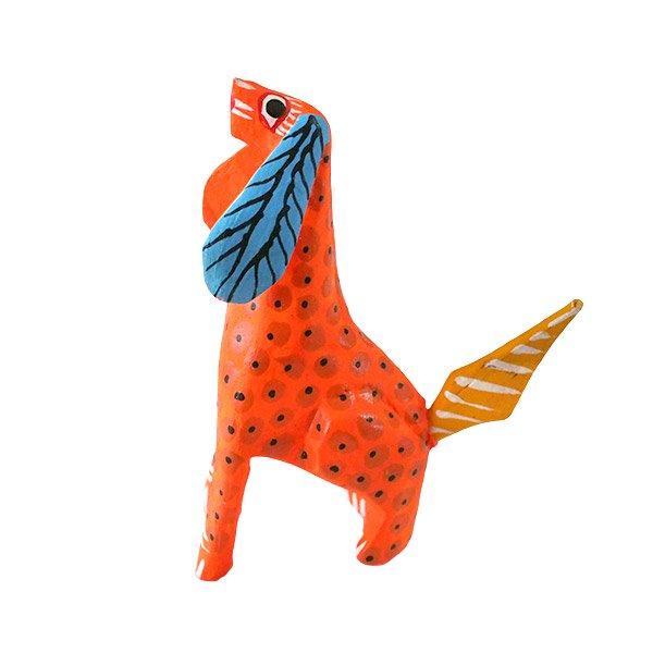 メキシコ ウッドカービング アレブリヘス (犬 オレンジ) 【画像2】