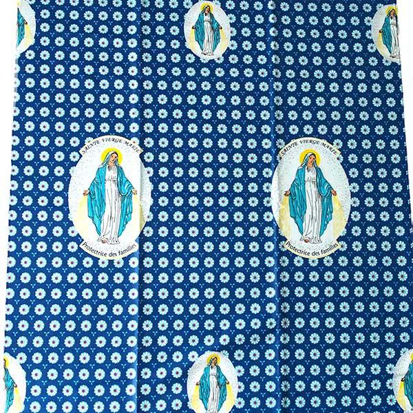 アフリカン プリント布 パーニュ 115×90 カットオフ(マリア様 E  ブルー)【画像5】