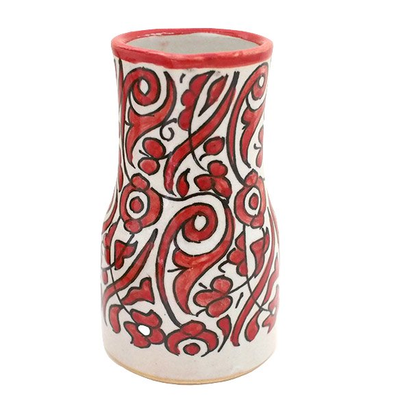 【一点もの】モロッコ フェズ 陶器 花瓶(レッド)【画像2】