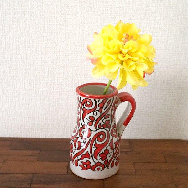 【一点もの】モロッコ フェズ 陶器 花瓶(レッド)【画像5】